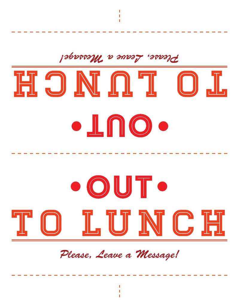 Out to Lunch Sign Template